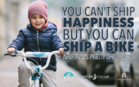 Cute kid on bike to ship rides to refugees